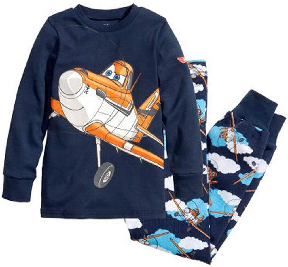 Aircraft Boys Long Pajamas Set 2 Piece Kids 100% Cotton Clothes