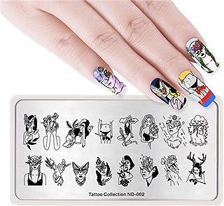 Fayella Imagen de Estampado de uñas Tipografía Placa Hoja de Luna Corazón Nail Art Stamp Template Stencil Nails Tool, Tattoo ND, 002