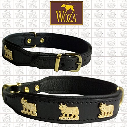 Woza Premium HUNDEHALSBAND KÜHE 2,5/37CM Vollleder SCHWARZ RINDNAPPA Leder SCHWARZ Messing Collar