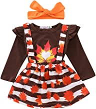3Pcs Toddler Infant Baby Girls Ruffle Long Sleeve Tops Maple Leaf Overall Dresses Headbands Bodysuit
