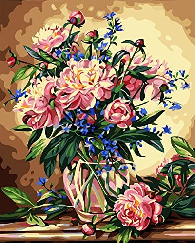 Heyao DIY Pintura al óleo de por Números Kit Flores Rosadas para Adultos Niños Pintura al Óleo De Lona Preimpresos para la Decoración De La Casa Oficina Frameless_50x65cm(20x26inch)