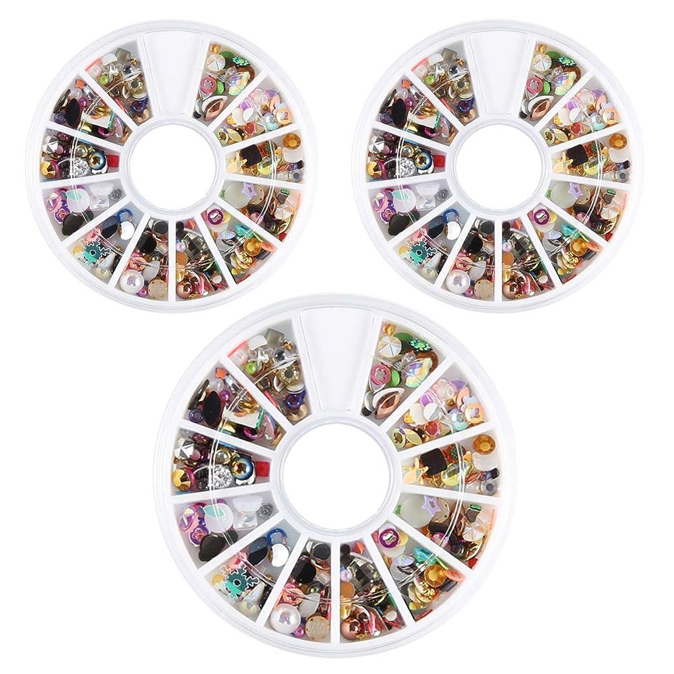 年金受給者受動的シャークネイルパーツ ネイルパーツ 3D ネイルアートデコレーション DIY ネイルデザイン ミックスパーツ カラフルな宝石 3ボックスセット ハンドメイド材料