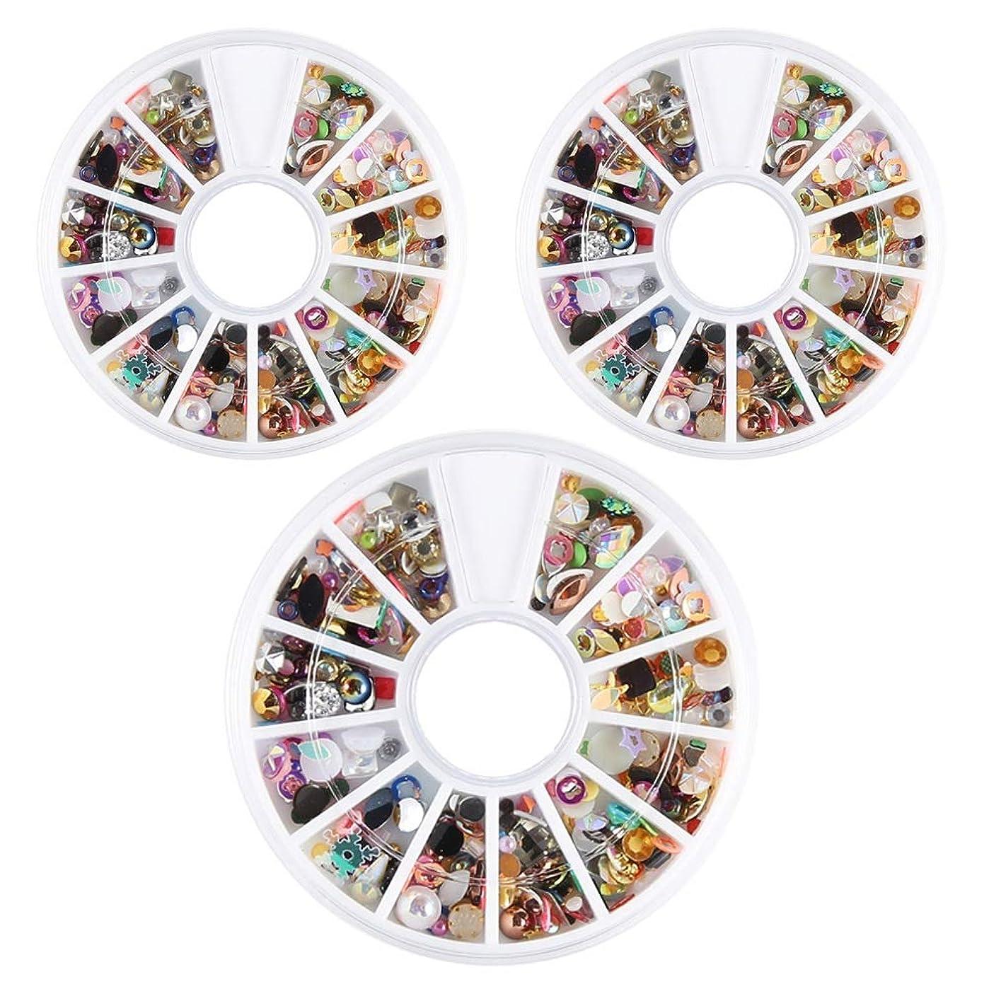 愛国的な毛皮織るネイルデコパーツ ネイルパーツ 3D ネイルアートデコレーション DIY ネイルデザイン ミックスパーツ カラフルな宝石 3ボック/スセット ネイル デコ用