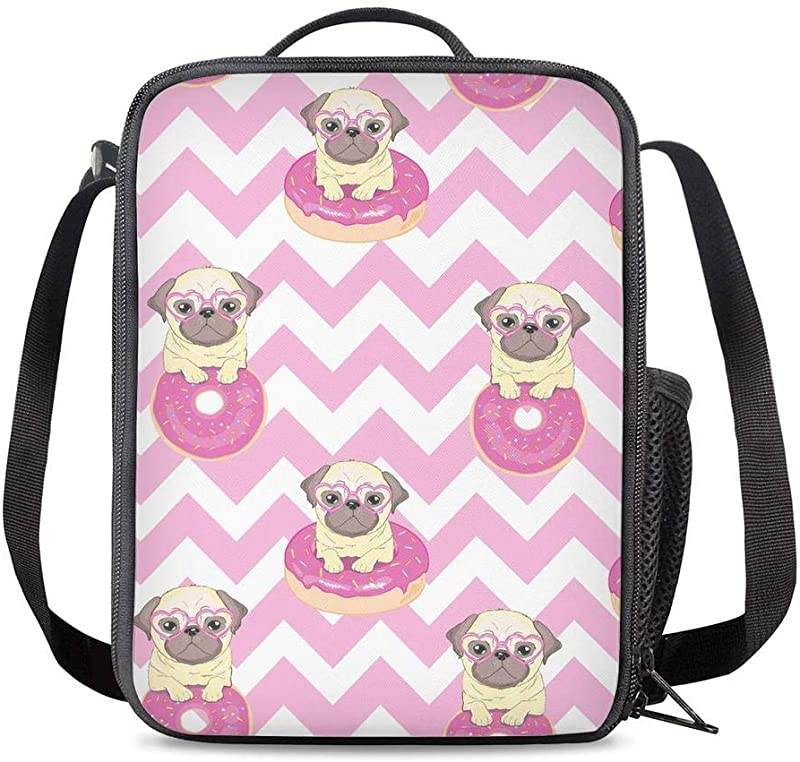 KiuLoam Pug Dog Chevron Pink Kids Small Lunch Box Children S Insulated Lunch Bag With Zipper Shoulder Strap Cooler Lunch Tote For Boys Girl Preschool Office Picnic