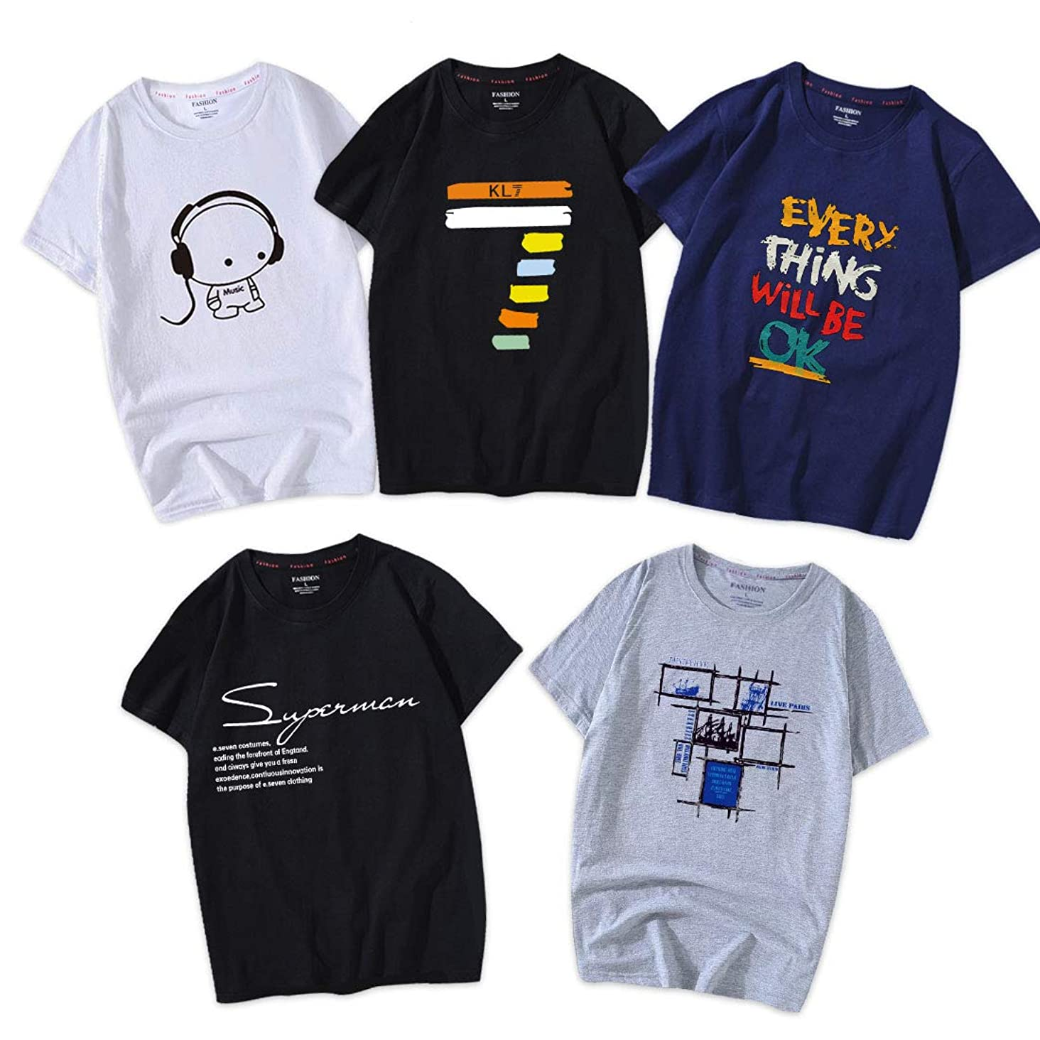 時間とともに十億アデレードHisitosa Tシャツ 半袖 服 メンズ 夏 5点セット カジュアル カットソー ファッション 丸襟 柔らかい 快適