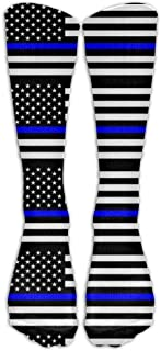 shyly Thin Blue Line Blue Lives Matter Flag.png Calcetines de compresión para mujer y hombres,