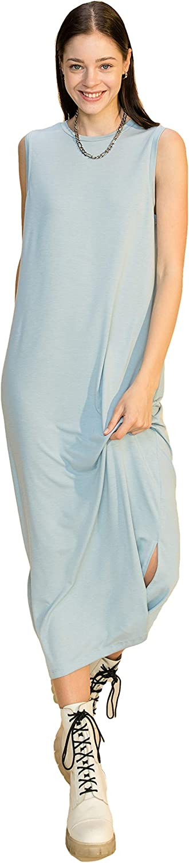 DOUBLE ICON Women's Casual Dress - Sleeveless Tank Midi Long Crewneck Side Slit Flowy Basic T Shirt One Piece