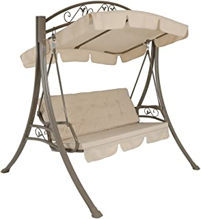 Sunnydaze Deluxe 3-Person Outdoor Patio Porch Swing with Canopy and Elegant Heavy Duty Steel Frame, Beige Cushions