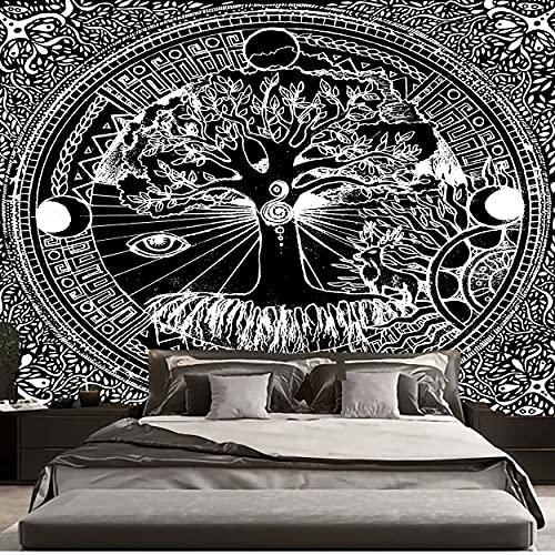 KHKJ Tapiz de árbol psicodélico Mandala para Colgar en la Pared tapices Hippie de macramé para la decoración del hogar de la Sala de Estar A24 200x150cm