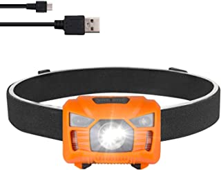 three trees Rechargeable Headlamp LED Flashilght - high Lumen,Brightest White Cree LED with RedLight,5 Modes for Walking,Waterproof,with USB Cable Directly,Adjustable Headband,Batteries Included