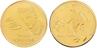 W-Fight Elvis Presley Commemorative Coin 1935-1977 The King of Rock N Roll Art Souveni,Best Choice for Your Friends AS A Xmas, New Year,Birthday Gift