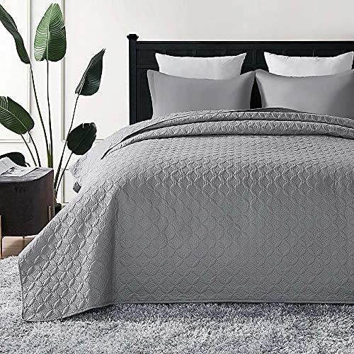 Hansleep Tagesdecke 230x280 cm Wohndecke grau Bettüberwurf Mikrofaser Bettdecke für Schlafzimmer Stepp Decke Super Weich und Komfort Geeignet für Bett(Kreis)