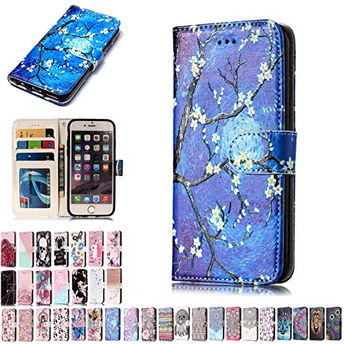 LA-Otter Lenovo Motorola Moto G5 Case Blue Cherry Blossoms Leather Case Wallet Flip Cover 360 Full Body Protection + TPU Silicone Bumper Shockproof