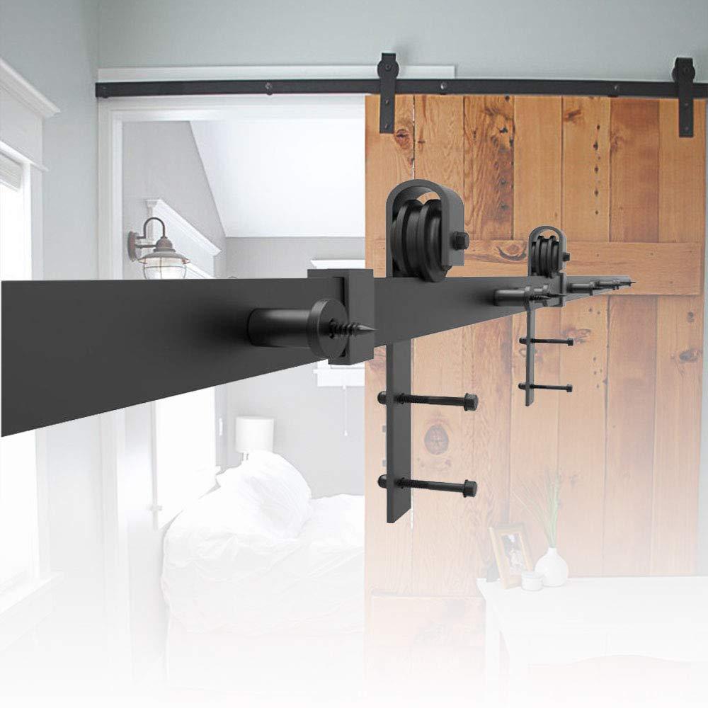 HENGMEI 200cm Accesorios de Puertas Herraje para Puertas Corredera Juego de Piezas de Metal Carril para Puerta: Amazon.es: Bricolaje y herramientas