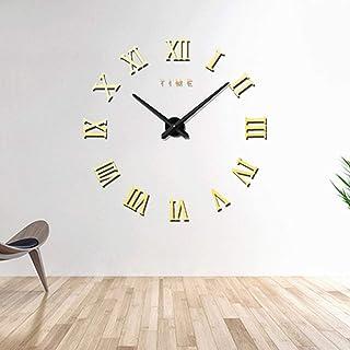 Newest Creative Design Chambre Décoration de la Maison Chiffre Romain sans Cadre Grand DIY Sticker Mural Horloge muette, T...