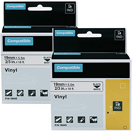 """Details about  /10 Pack 18445 IND Vinyl Label 3//4/"""" for DYMO RHINO 4200 5200 6000 Black on White"""