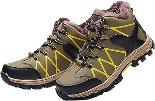 WggWy Chaussures à Bout en Acier à la Mode décontractée pour Hommes, Cuir Microfibre étanche et Anti-Perforation des Botte...
