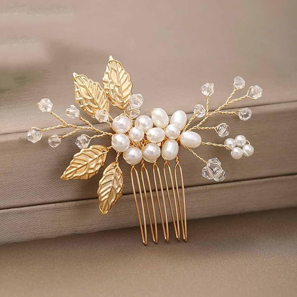 ECSWP 2Piece Bridal Wholesale Hair Accessories wholesale Golden Leav Pearl Comb