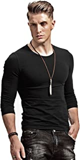 Fitting Men Soft Stretchy Long Sleeves Athletic Muscle Cotton T Shirt