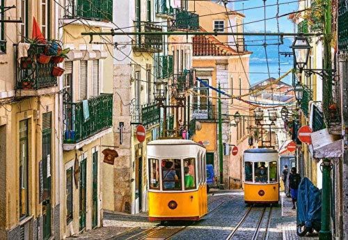 Rompecabezas Rompecabezas Tranvía de Lisboa 1000 Piezas Rompecabezas para Adultos Bosque Planta Animal Paisaje Océano Descompresión Juego