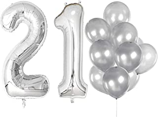 IN-JOOYAA 40 in Big Number 21 Mylar Balloons Silver 21th Jumbo Foil Number Balloon for 21st Birthday Party Anniversary Celebrate Party Decoration