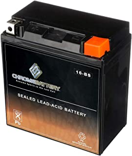 Rechargeable YTX16-BS Battery - High Performance Power Sports - Maintenance Free - Replaces GT16-BS, PTX16-BS, MTX16-BS