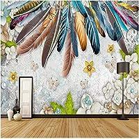 Lcymt 壁画の壁紙 現代のファッション色の羽の壁画の壁紙のリビングルームの寝室の装飾壁紙-250X175Cm