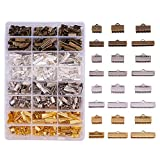 PandaHall Elite 680PCS 6 Size 4 Color Iron Ribbon Ends Bracelet Bookmark Pinch Crimp Clamp End Findings Cord...