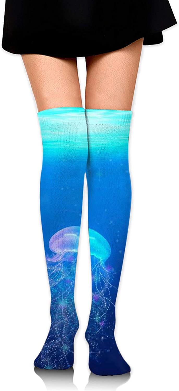 SWEET TANG Women Girl Extra Long Thigh High Socks Over The Knee High Boot Stockings Leg Warmers for Home, Office Daily Wear (Jellyfish Under The Ocean Sea Blue)