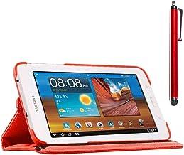 ebestStar - Funda Compatible con Samsung Galaxy Tab 3 Lite 7.0 SM-T110, VE SM-T113 Carcasa Cuero PU, Giratoria 360 Grados, Función de Soporte + Lápiz, Rojo [Aparato: 193.4 x 116.4 x 9.7mm, 7.0'']