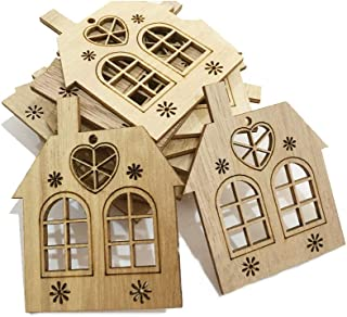Hemore 10Pcs/Set Christmas Wooden Hanging Ornaments Xmas House Wooden Ornament Hollow Laser Small House