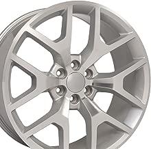 OE Wheels 24 Inch Fits Chevy Silverado Tahoe GMC Sierra Yukon Cadillac Escalade Sierra 1500 Style CV92 Silver Machined 24x10 Rim Hollander 5656