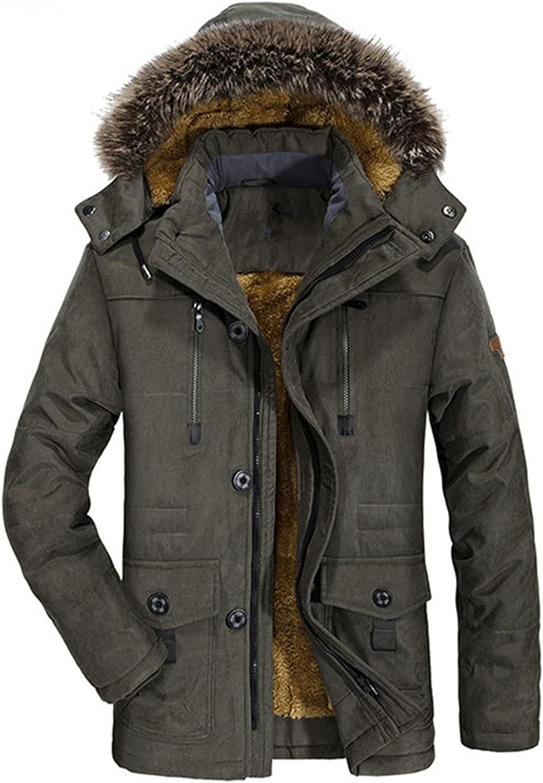 Men's Puffer Parka Cotton Coat Warm Jacket, Faux Fur Collar Winter Thicken Windproof Hooded Overcoat