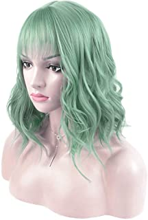 DAOTS 14 Inches Curly Wigs with Bangs for Women Girls Heat Resistant Synthetic Hair Wig (Green)