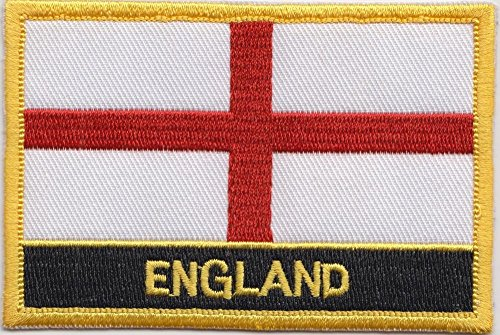 """England Flag Patch/Sew-On UK Morale Patch (English Iron-On w/Words, 2"""" x 3"""")"""