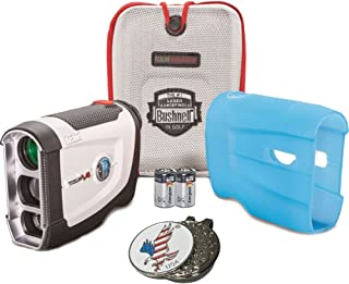 Bushnell Bundle 2016 Tour V4 Jolt Patriot Pack Golf Laser Rangefinder + CR2 Battery + 1 Custom Ball Marker Clip Set (American Eagle) + Blue Silicon Skin