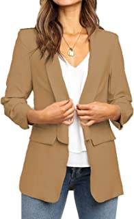 POGTMM Women's Casual Work Office Blazers Open Front Long Sleeve Blazer Jackets Suit with Pockets