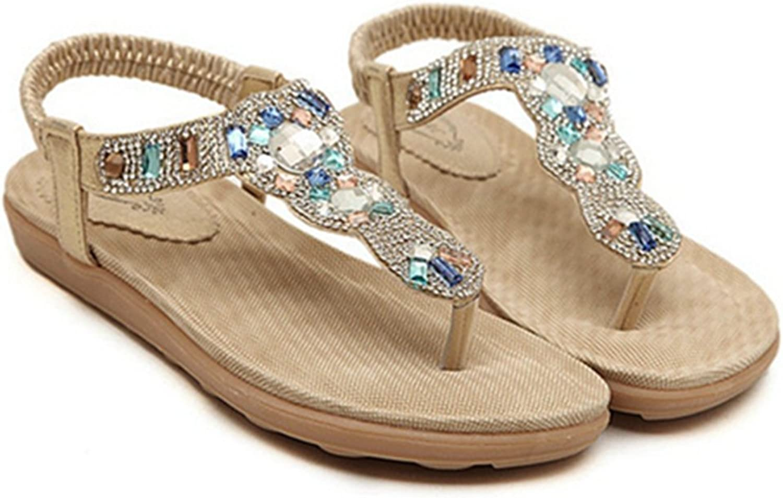 Zarbrina Women's Sweet Flats Sandals Ankle Strap Crystal with Rhinestone Beaded Bohemian Dress Flip-Flop