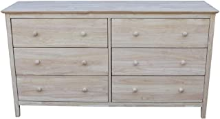 International Concepts Dresser with 6 Drawers, Unfinished
