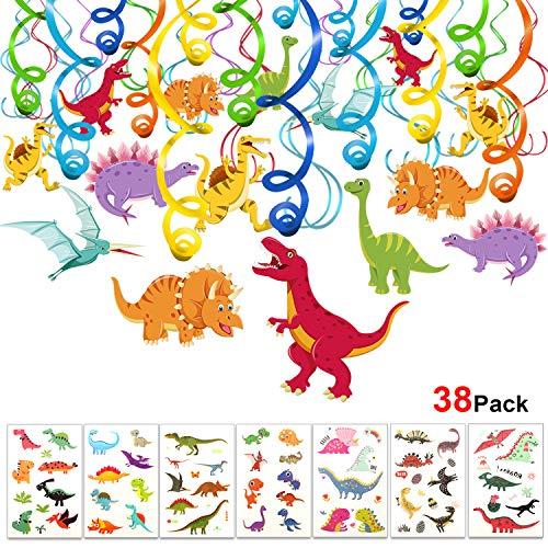 HOWAF Dinosaurier Hängedekoration Geburtstag Deckenhänger Spiral Girlanden mit Dino Kinder Tattoo Set für Kinderparty Junge und Mädchen kindergeburtstags Dekoration, 38 teilig Set