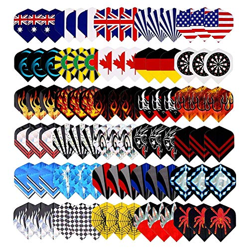 Tezoro Standard Dart Flights sets 30 sets 90 pcs Durable Replacement Dart Accessories Parts Supplies, Rich Variety of Designs Tail Wing