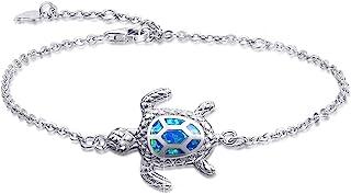 الأزرق أوبال البحر السلحفاة سوار الفضة الاسترليني أساور مجوهرات للنساء هدايا نسخة جديدة 4 مستوى سوار قابل للتعديل