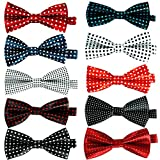 DanDiao 10 Pcs Elegant Pre-tied Bow Ties Formal Tuxedo Bowtie Set with Adjustable Neck Band,Gift Idea For Men And Boys, Medium