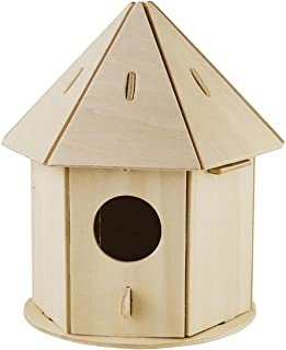 ROBOTIME Cute Wooden Bird House Kits to Build 3D Painting Puzzle Wooden Craft Project Kits for Children
