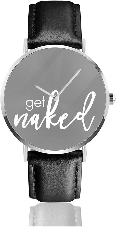 Obtener desnudo blanco en gris oscuro reloj cuarzo movimiento impermeable correa de reloj para hombres mujeres simple negocios casual