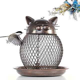 Bird Feeders for Outside Wild Bird Feeder for Finch,Hanging Mesh Ball Bird Feeder,Durable Metal,Cardinal Bluebird Hummingbird Feeders,Cat-Shaped Antique Patio Decor