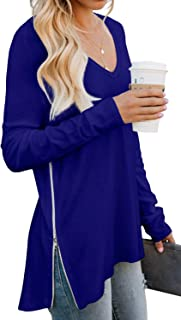 Women's Fall Long Sleeve Side Split Loose Casual Pullover Tunic Tops with Side Zipper