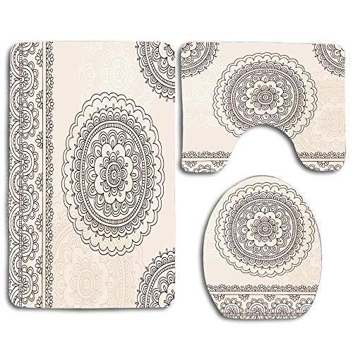 N\\A Folk Floral Tattoo Design Inspirationen aus asiatischen Zivilisationen Doodle Style Weiche farbige Badezimmerteppichmatte 3er-Set, Rutschfester Toilettensitzbezug Bademattendeckel