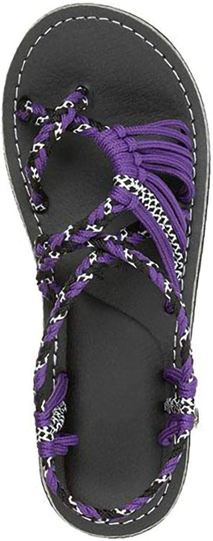 FINDYOU Women's Sandals Ladies Beach shoes Hemp Rope Flip Flops Sandal Fashion Rome shoes Flat Heel Casual Loafers