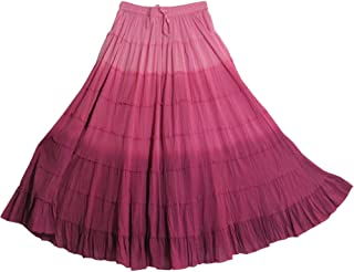 Yoga Trendz Missy Plus Bohemian Gauze Cotton Tiered Crinkled Broomstick Long Skirt Ombre